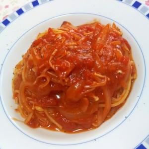 ベーコンとえのきのトマトパスタ++