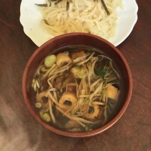 水菜とチクワと豚コマの盛りうどん。