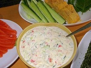 手巻き寿司に、サラダ
