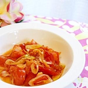 トマトとネギのピリ辛炒め