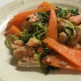 鮭と野菜のガリバタ炒め