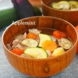 レンジ圧力鍋で快適★たっぷり夏野菜のさっぱり豚汁