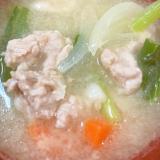 小松菜、人参、玉ねぎの豚汁