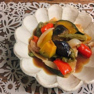 なすと夏野菜の麺つゆ揚げ浸し❆
