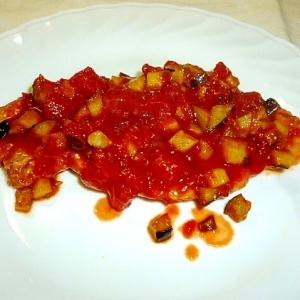 簡単☆茄子入りトマトソースのポークソテー♪