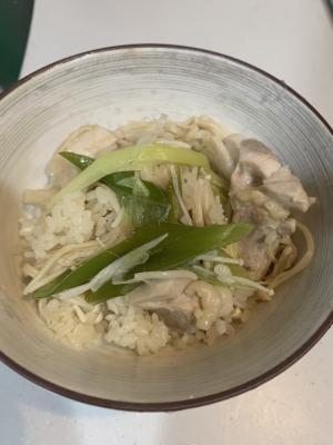 鶏肉、えのき、白ネギ栄養たっぷり炊き込みご飯