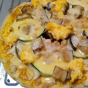茄子とズッキーニの夏野菜ヘルシーピザ