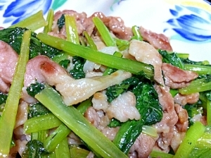 【簡単×栄養↑】豚肉と小松菜の醤油炒め