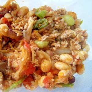 豚挽肉とスチームサラダ豆野菜グリル