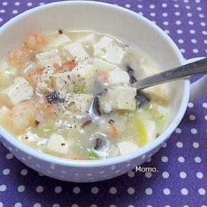 薬味たっぷりのエビ豆腐トロトロスープ