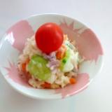 紫玉ねぎとミニトマトでカラフルポテトサラダ