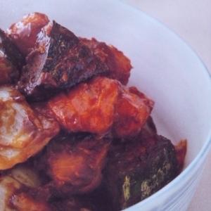 かぼちゃとなすの炒め物