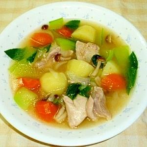 鶏モモ肉と青梗菜のスープ