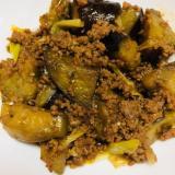 青椒肉絲の素でナスとひき肉の炒め物