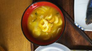 玉ねぎとちくわの黄色いかぼちゃスープ