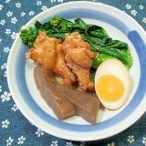 鶏手羽と卵のさっぱり煮 菜花添え