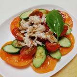カラートマトとささみフレークの野菜サラダ