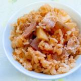 豚肉と蒟蒻とジャガイモの炊き込みご飯