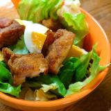 レタス唐揚げゆで卵サラダ
