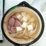 ウィンナー豆腐もやしコンソメ大蒜スープ