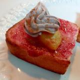 ストロベリージャム・黄桃・チョコホイップのトースト