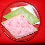 ラスクパンで作る菱餅飾り