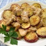 さつま芋と鶏もも肉のマヨ粒マスタード炒め♪