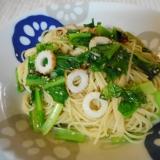 小松菜とチクワのゴマパスタ