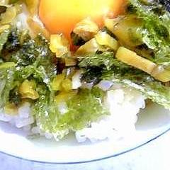 韓国のりと高菜の卵かけご飯