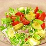 水菜とトマト、アボカドの旨っサラダ