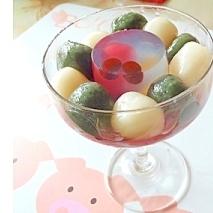 プチ錦玉を使って、パフェ風の餡蜜を!