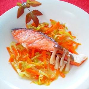 レンジで簡単!鮭の中華蒸し
