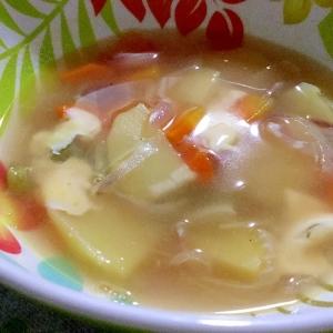 簡単おいしい☆コンソメスープのチーズのせ