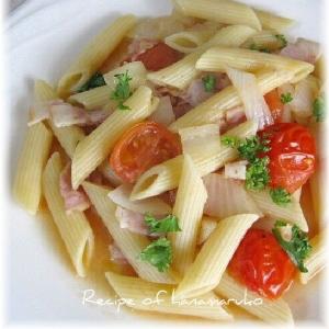 優しい味わいトマトとベーコンのスープパスタ