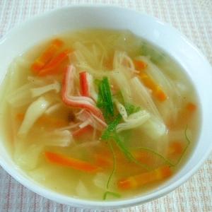 キャベツとカニカマのスープ