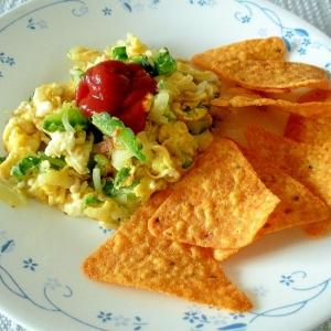 ドリトスと!ほんのり苦味が美味いゴーヤと卵の炒め物