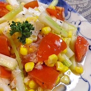 セロリトマトコーン三色サラダ