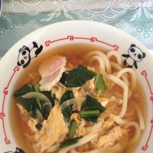 小松菜の卵とじうどん♪パンダちゃんドンブリで♪