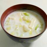 やさしい味わい☆豆腐と白菜の和風ミルクスープ