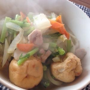 がんも入り鶏塩野菜うどん。