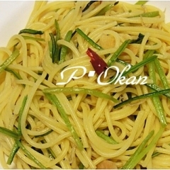 壬生菜とチリメンジャコのペペロンチーノ風