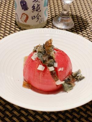 簡単ヘルシー、ピータンとトマトの中華冷菜
