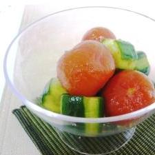 【小さいおかず】ミニトマトときゅうりの漬物サラダ