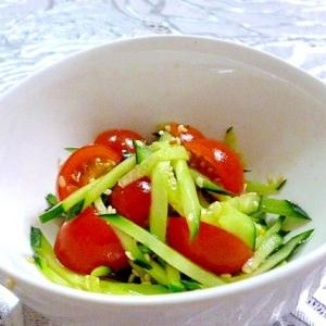 ピリっと辛めの胡瓜とミニトマトの中華風酢の物♪