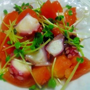 たことトマト、貝割れの和え物
