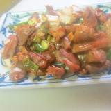 砂肝としし唐の生姜と葱グリル