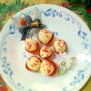 一足早いクリスマス☆トマトカップ入り練乳ボール❤