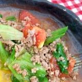 トマトとレタスとひき肉炒め☆