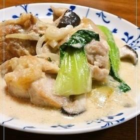 鶏肉と青梗菜の味噌ミルク煮