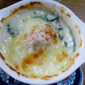 鶏団子とホワイトソースのチーズ焼き